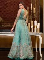 Aqua Blue Sequins Engagement Floor Length Anarkali Suit
