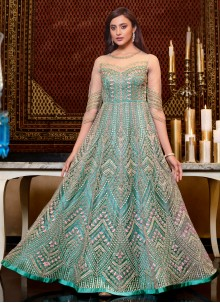 Aqua Blue Sequins Engagement Floor Length Anarkali Suit