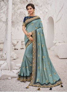 Aqua Blue Silk Border Silk Saree