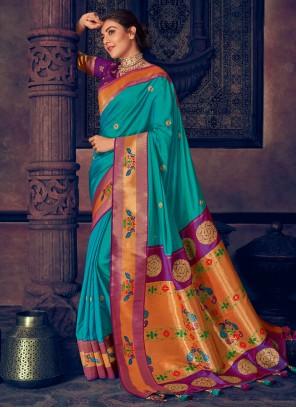 Aqua Blue Silk Contemporary Style Saree