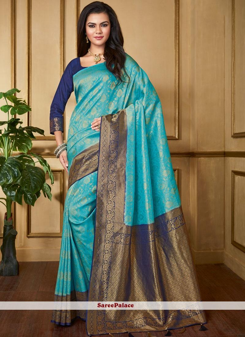 Aqua Blue Silk Festival Classic Saree