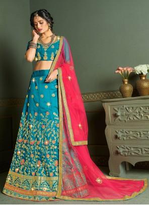 Aqua Blue Silk Reception Designer Lehenga Choli