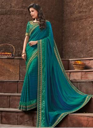 Aqua Blue Silk Reception Designer Saree