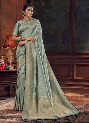 Aqua Blue Silk Traditional Saree