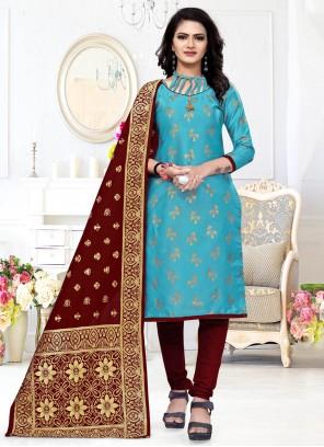 Aqua Blue Weaving Churidar Designer Suit