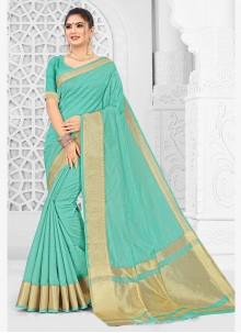 Aqua Blue Weaving Silk Traditional Saree