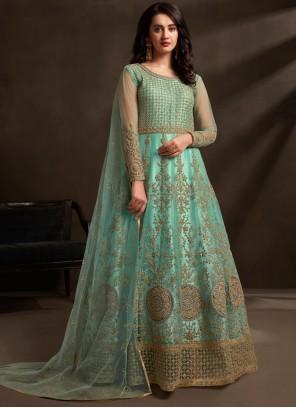 Aqua Blue Wedding Net Designer Gown