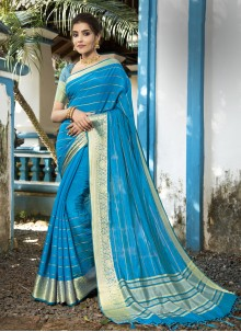 Aqua Blue Woven Designer Traditional Saree