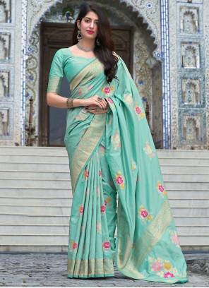 Aqua Blue Woven Designer Traditional Saree