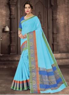 Aqua Blue Woven Traditional Saree