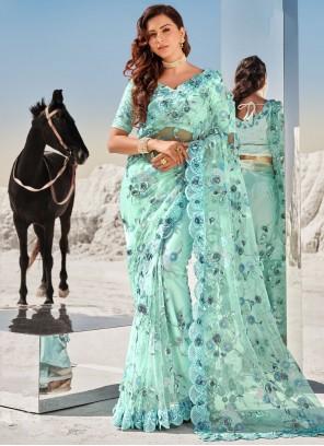 Aqua Blue Zari Net Classic Saree