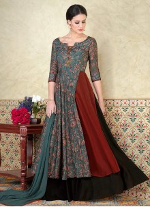 Aristocratic Cotton Satin Print Work Floor Length Anarkali Suit