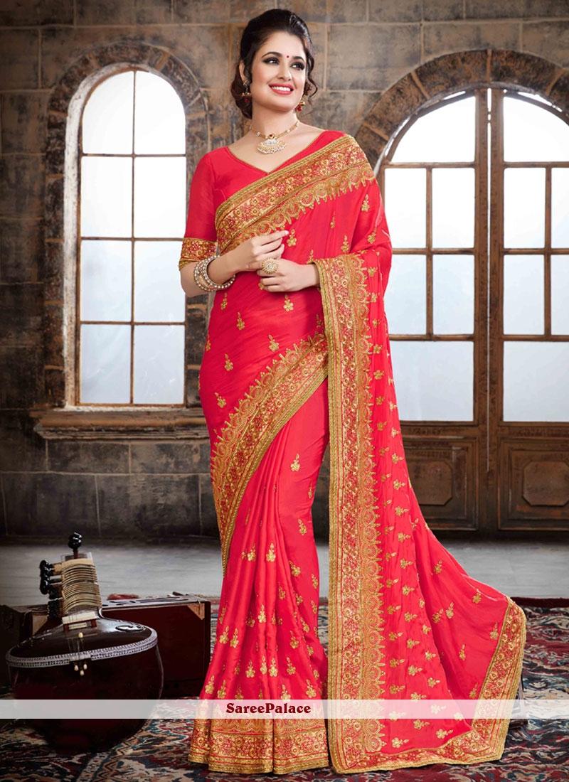 Aristocratic Crepe Silk Resham Work Traditional Designer Saree
