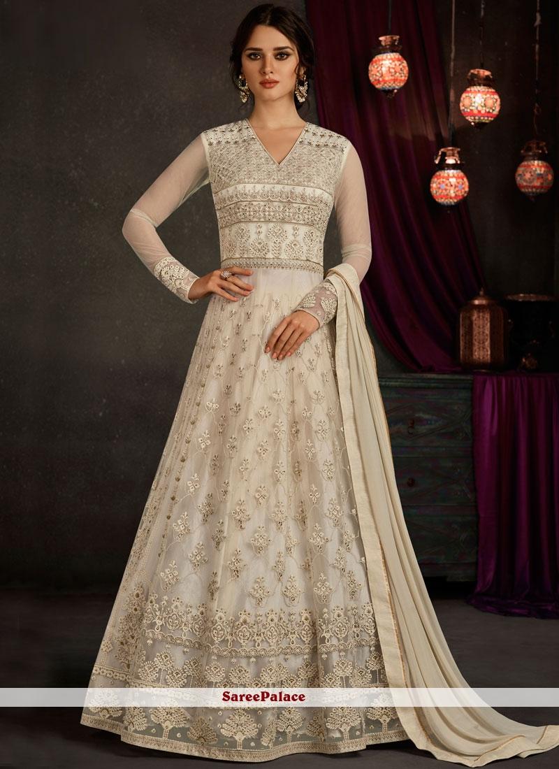 Buy Aristocratic Lace Work Net White Floor Length Anarkali Suit Online
