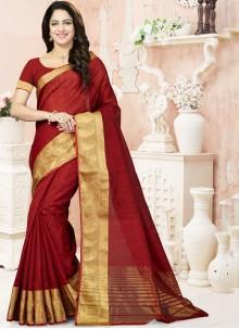 Aristocratic Raw Silk Weaving Work Traditional Designer Saree