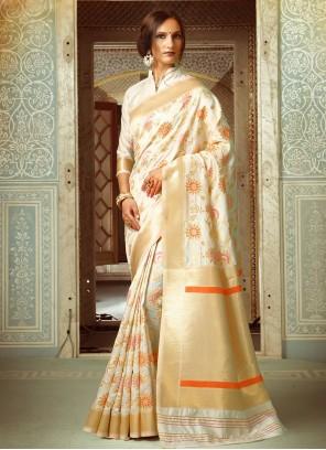 Arresting Cream Weaving Work Designer Traditional Saree