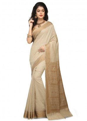 Art Banarasi Silk Beige Designer Traditional Saree