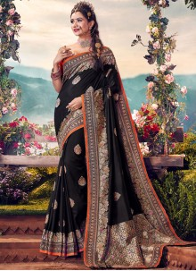 Art Banarasi Silk Black Designer Traditional Saree