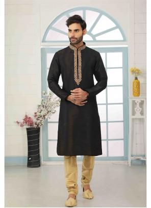 Art Banarasi Silk Black Kurta Pyjama