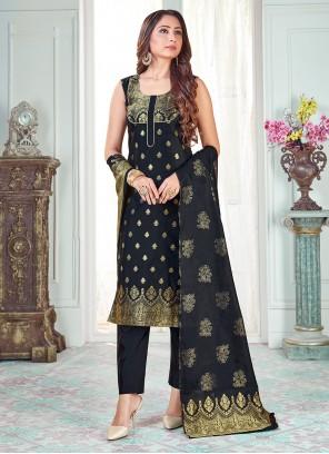 Art Banarasi Silk Black Pant Style Suit