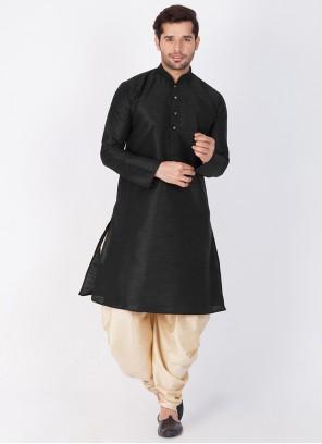 Art Banarasi Silk Black Plain Dhoti Kurta