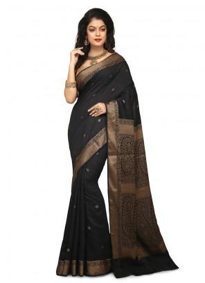 Art Banarasi Silk Black Weaving Designer Traditional Saree