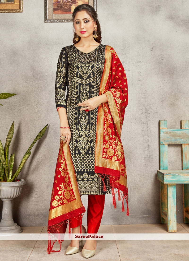 Art Banarasi Silk Black Woven Pant Style Suit