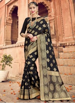 Art Banarasi Silk Black Woven Traditional Designer Saree