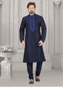 Art Banarasi Silk Blue Embroidered Kurta Pyjama