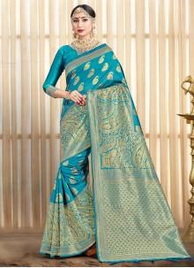 Art Banarasi Silk Blue Woven Designer Traditional Saree