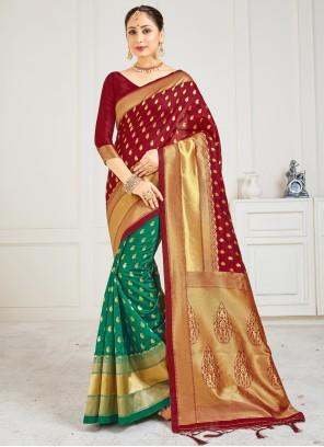 Art Banarasi Silk Ceremonial Green Designer Half N Half Saree
