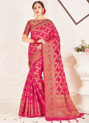 Art Banarasi Silk Hot Pink Ceremonial Designer Traditional Saree