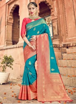 Art Banarasi Silk Ceremonial Turquoise Traditional Designer Saree