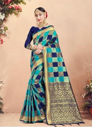 Art Banarasi Silk Classic Blue Designer Saree