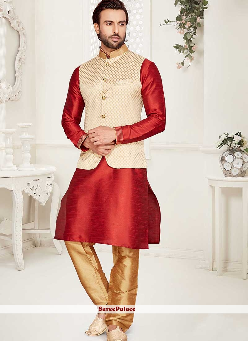 Art Banarasi Silk Cream Nehru Jackets