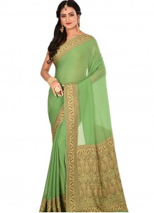 Art Banarasi Silk Cream Weaving Designer Traditional Saree