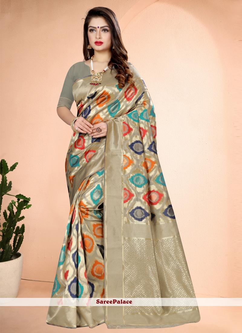 Multi Colour Art Banarasi Silk Designer Traditional Saree