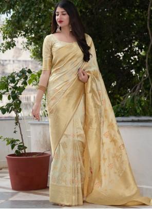 Art Banarasi Silk Designer Traditional Saree in Cream