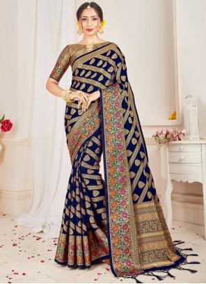 Art Banarasi Silk Designer Traditional Saree in Navy Blue