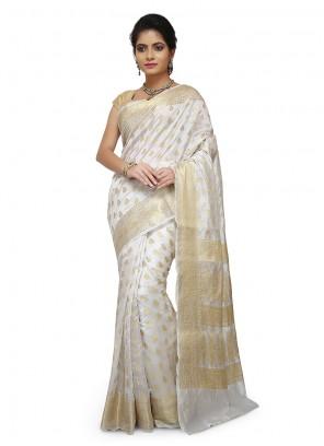 Art Banarasi Silk Designer Traditional Saree in Off White