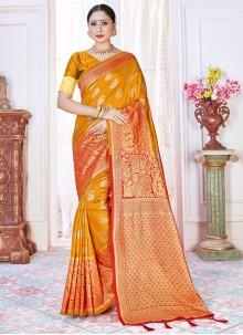 Art Banarasi Silk Designer Traditional Saree in Orange