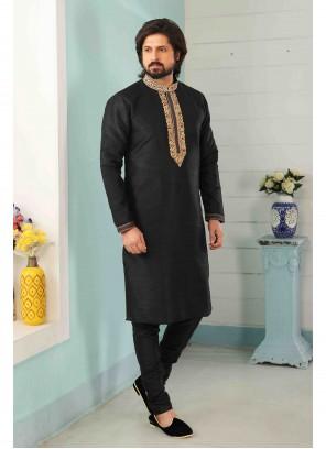 Art Banarasi Silk Embroidered Black Kurta Pyjama