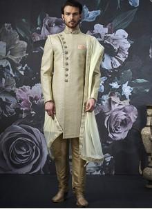 Art Banarasi Silk Embroidered Cream Indo Western