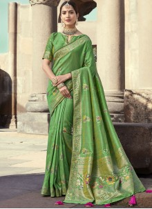 Art Banarasi Silk Embroidered Green Designer Traditional Saree