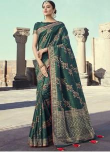 Art Banarasi Silk Embroidered Green Designer Traditional Saree