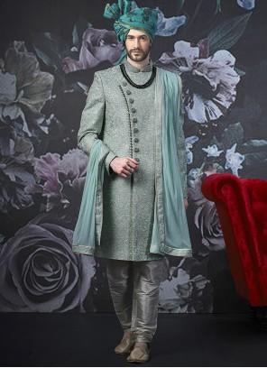 Art Banarasi Silk Embroidered Green Indo Western