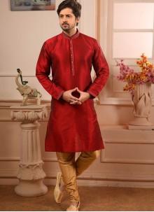Art Banarasi Silk Embroidered Maroon Indo Western