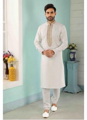 Art Banarasi Silk Embroidered Off White Kurta Pyjama
