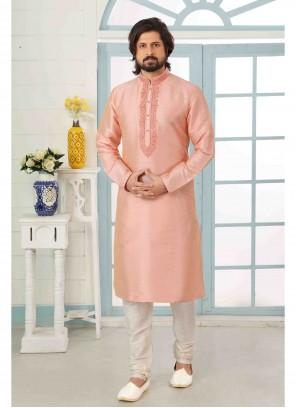 Art Banarasi Silk Embroidered Pink Kurta Pyjama