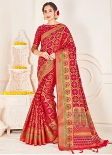 Art Banarasi Silk Festival Red Designer Traditional Saree